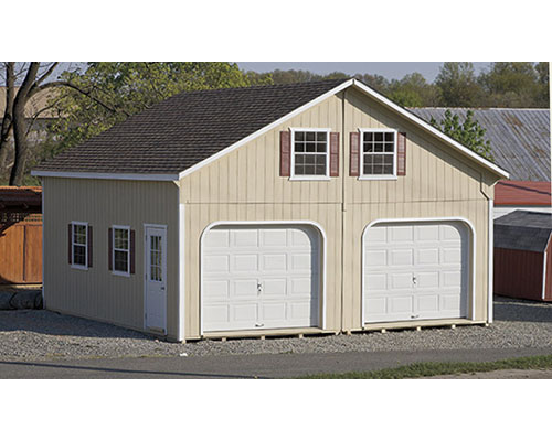 Two Car Garages With Double Windows On Second Story