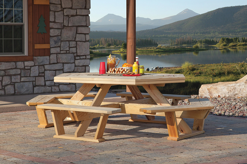 Outdoor Furniture Arbors Footbridges Tables Chairs Wood And Poly - Pressure treated wood picnic table