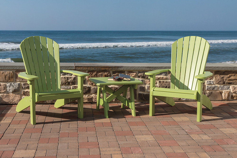 Poly Outdoor Furniture. Beach Chairs And Table. Easily Folds For Shipping  And Storage.