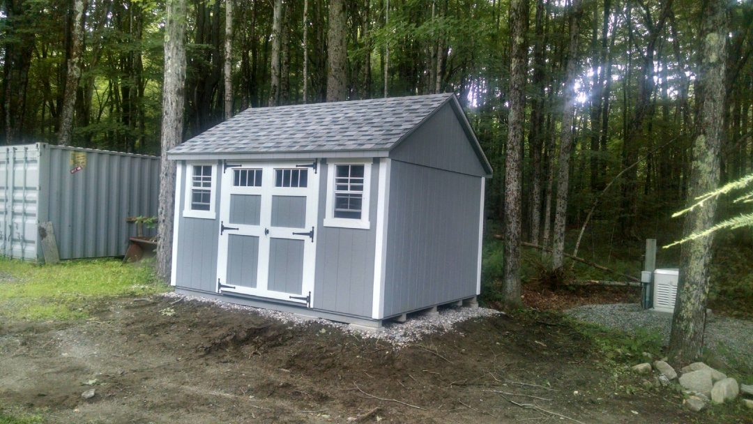 10x12 a-frame shed delivered to and installed in Tyingham, MA