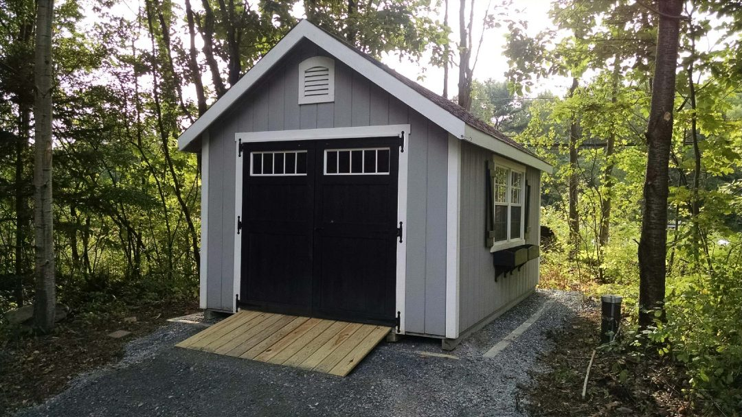 10x14 Elite A-Frame shed, ramp and window boxes delivered to and installed in Brunswick, NY