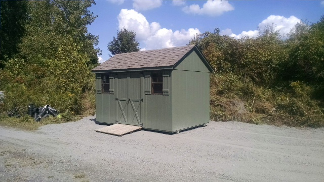 8x12 A-frame shed and ramp delivered to Sheffield, MA