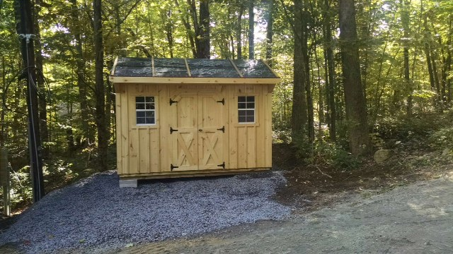 8x12 pine board and batten carriage shed delivered and installed