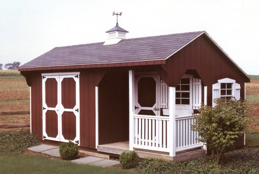 Storage sheds are available with a porch option