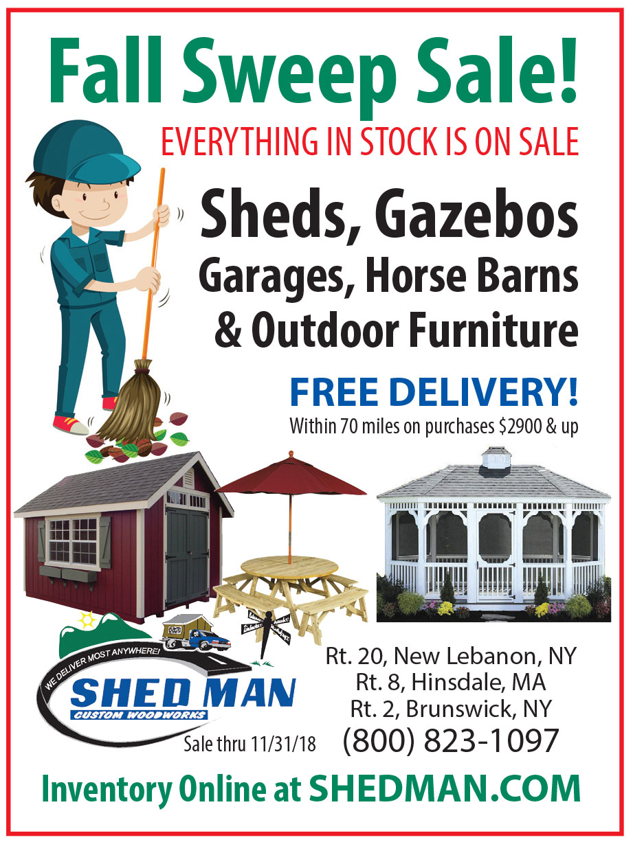 Every shed, gazebos, garage, horse barn, run in shed, and piece of outdoor furniture is on sale at Shed Man in New Lebanon and Brunswick, NY