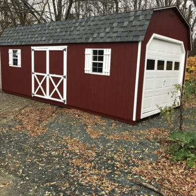 12' x 24' Dutch Style Red Garage with White Door and trim